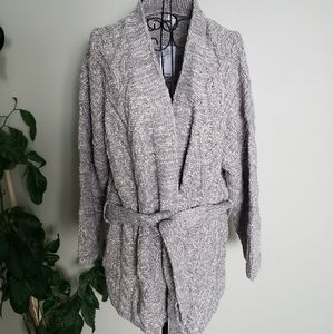 NWT Kismet grey open knit cardigan with tie front